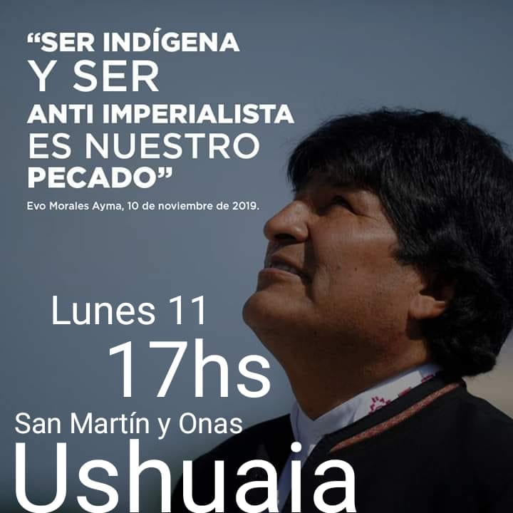 Comunidad boliviana se concentra en Ushuaia para reclamar por Evo Morales